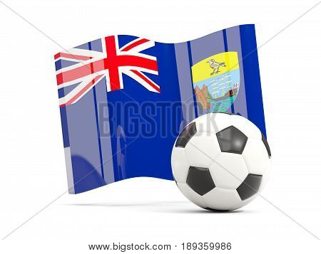 Football With Waving Flag Of Saint Helena Isolated On White