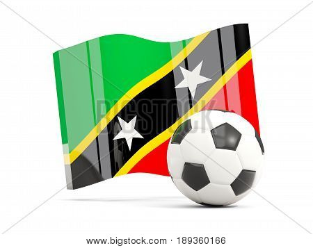 Football With Waving Flag Of Saint Kitts And Nevis Isolated On White