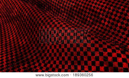 red and black chequered grundge race flag 3d render