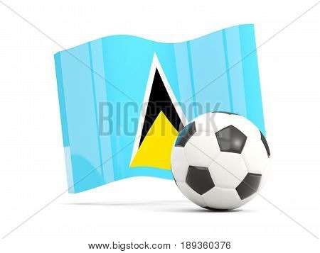 Football With Waving Flag Of Saint Lucia Isolated On White