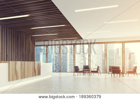 Side view of a white and ligth wooden reception counter is standing in a black office lobby with wooden decoration elements. Armchairs in an empty hall. 3d rendering mock up toned image