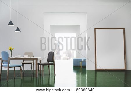 Green dining room interior with a long wooden table white chairs standing near it a flower vase and a vertical poster standing near a door. 3d rendering mock up