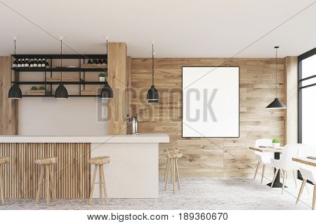 Side view of a light wooden cafe interior with square tables white chairs stools standing near a white bar and a framed vertical poster on a wall. 3d rendering mock up