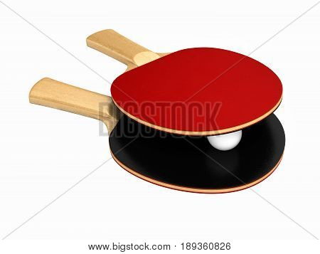Ping-pong Rackets And Ball Without Shadow On White Background 3D