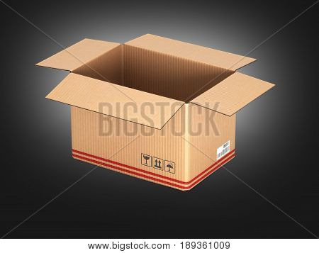 Open Cardboard Box On Black Gradient Background 3D