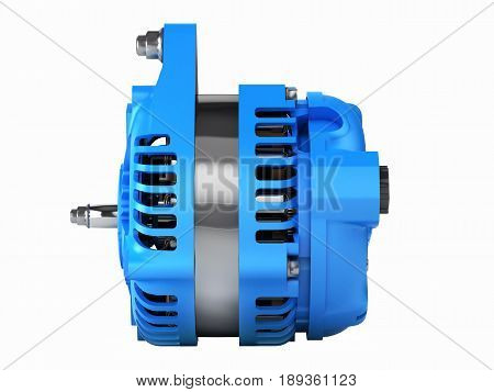 Car Alternator Side View Isolated On A White Background 3D