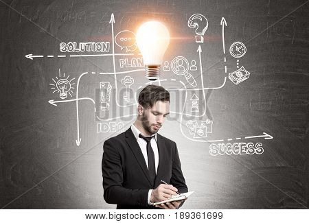 Pensive bearded man and busines bulb icon
