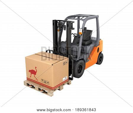 Forklift Truck With Box Without Shadow On Pallet On White Background 3D