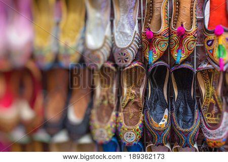 Shoes in arabian style market of Dubai