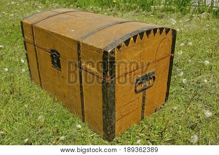 Very old wooden steamer trunk built in the late 1800`s used to transport personal items to the USA from a Scandinavian country