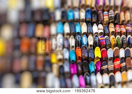 Colourful Moroccan slippers in market in Marrakesh,