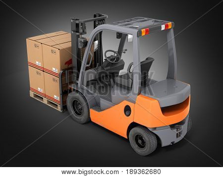 Forklift Truck With Boxes On Pallet On Black Gradient Background 3D