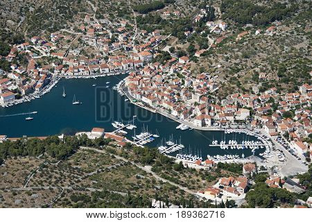 Settlement Milna on the west side of Brac island in Croatia aerial view