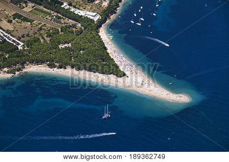 Golden cape beach in Bol Brac Island Croatia aerial view