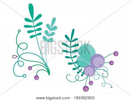Cute vector combination with hand-drawn floral elements and branches. Stylish simple design. Vector illustration. Green, purple and turquoise colors.