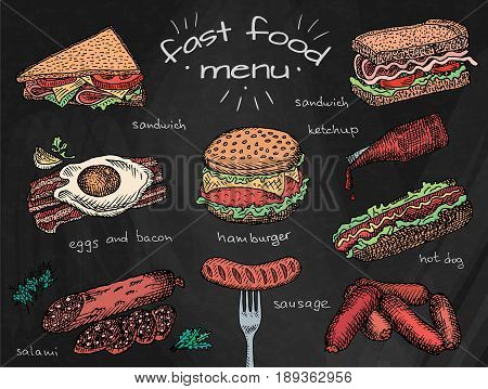 fast food menu, hamburger, snack, bread, burger, sandwich, chicken, poster, breakfast,  eggs, sausage, bacon, salami, ketchup, omelet on chalkboard background