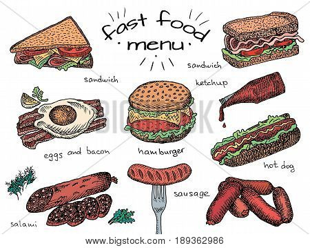 fast food menu, hamburger, snack, bread, burger, sandwich, chicken, poster, breakfast,  eggs, sausage, bacon, salami, ketchup, omelet