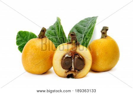 Medlars produced with organic cultivation photograph on a white background
