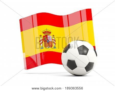 Football With Waving Flag Of Spain Isolated On White