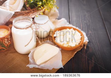 Assorted dairy products milk yogurt cottage cheese sour cream. Rustic still life. Farmer's cow dairy products.