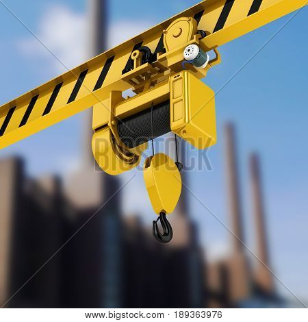 Overhead Crane Perspective View On Factory Background 3D