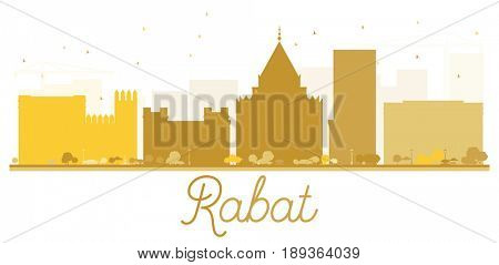 Rabat City skyline golden silhouette. Simple flat concept for tourism presentation, banner, placard or web site. Business travel concept. Cityscape with landmarks.