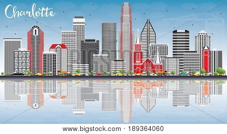 Charlotte Skyline with Gray Buildings, Blue Sky and Reflections. Business Travel and Tourism Concept with Modern Architecture. Image for Presentation Banner Placard and Web Site.