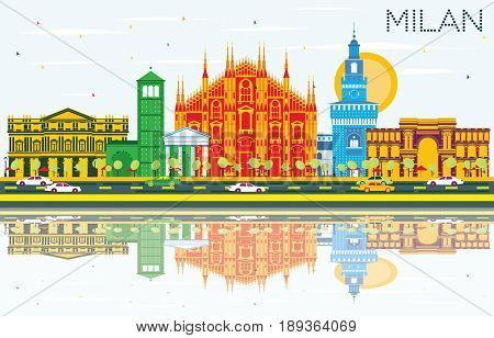 Milan Skyline with Gray Landmarks, Blue Sky and Reflections. Business Travel and Tourism Concept with Historic Buildings. Image for Presentation Banner Placard and Web Site.
