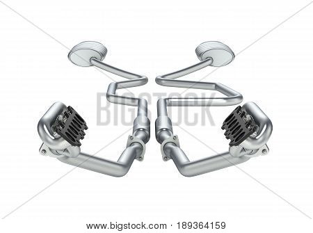 Exhaust Pipes System Fron View Without Shadow Isolated On White Background 3D