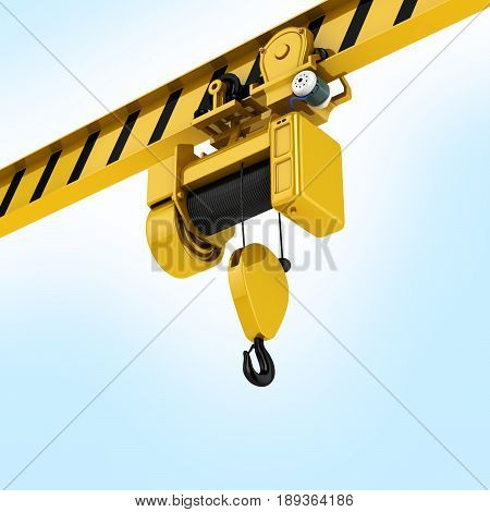 Overhead Crane Perspective View On Blue Gradient Background 3D