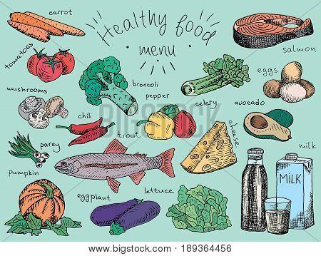 healthy food menu, avocado, broccoli, carrot, celery, cheese, chili, eggplant, eggs, fish, lettuce, milk, mushroom, pumpkin, salmon, tomatoes, trout, onion, pepper