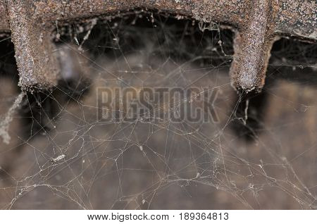 spider web in the old cast iron water heater, cose-up
