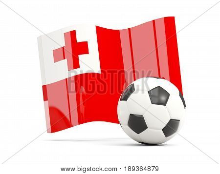 Football With Waving Flag Of Tonga Isolated On White