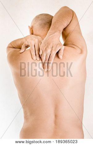 Man Suffering Of Thoracic Vertebrae Pain
