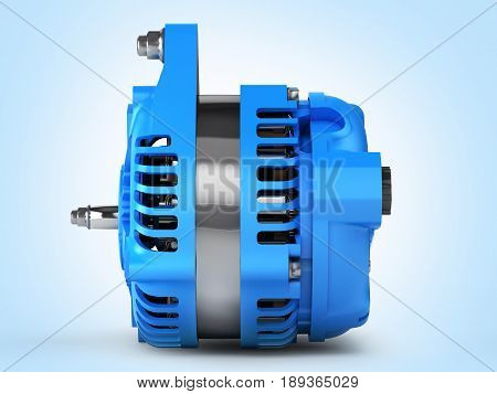 Car Alternator Side View On Blue Gradient Background 3D