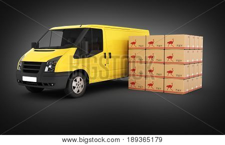 Yellow Delivery Van With Cardboard Boxes On Black Gradient Background 3D