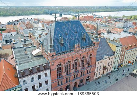 TORUN, POLAND. 6th APRIL 2017. View of Old Town Square and the River Vistula from the Old Town Hall. Torun is increasing in popularity with tourists after the introduction of low-cost flights to nearby airports.