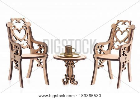 Engraved Chairs With Pint Of Beer Or Mug On Table