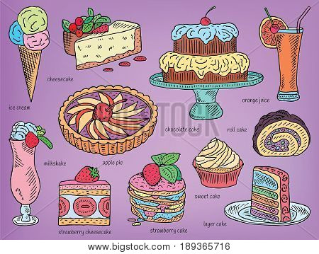 ice cream, chocolate cake, apple pie, layer cake, roll cake, orange juice, cheesecake, strawberry cake, milkshake, strawberry cheesecake, sweet cake, dessert menu