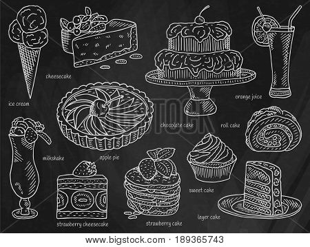 Chalk ice cream, chocolate cake, apple pie, layer cake, roll cake, orange juice, cheesecake, strawberry cake, milkshake, strawberry cheesecake, sweet cake, dessert menu on chalkboard background