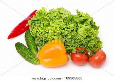 healthy lifestyle concept peppers leafy vegetables or green lettuce leaf with red tomatoes and cucumber isolated on white background