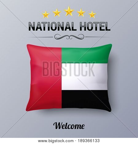 Realistic Pillow and Flag of United Arab Emirates as Symbol National Hotel. Flag Pillow Cover with flag design