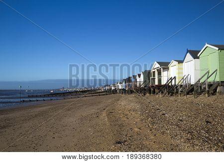 Beach Huts at Thorpe Bay near Southend-on-Sea Essex England