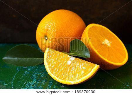 Orange fruit. orange slice. soft focus. orange