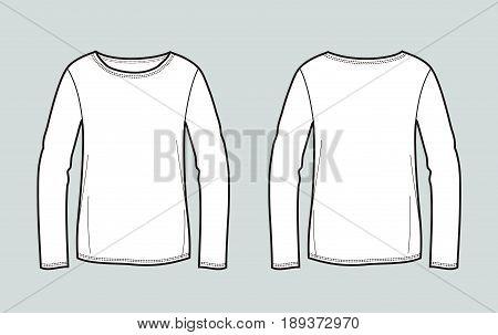 Vector illustration of women's jumper. Front and back