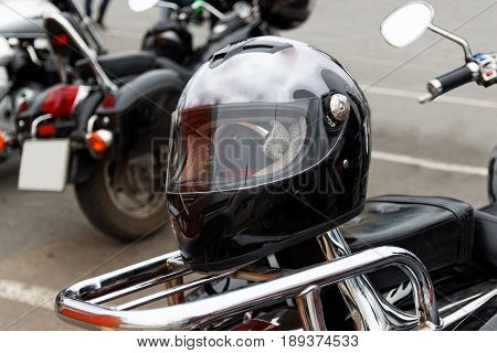 Moto Helmet On Motorcycle