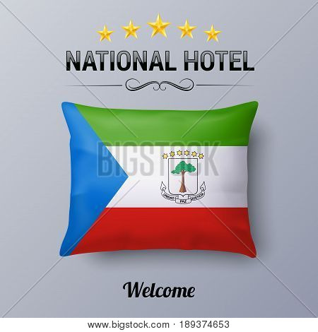 Realistic Pillow and Flag of Equatorial Guinea as Symbol National Hotel. Flag Pillow Cover with flag design