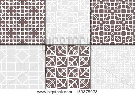 Set Of 6 Modern Decorative Seamless Geometric Pattern. Vector Illustration. For Desin Invitation, Sc