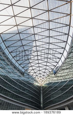MILAN, ITALY - APRIL 8, 2016: Milan (Lombardy Italy): Palazzo Lombardia modern building hosting the government of the Region: the glass ceiling of the court