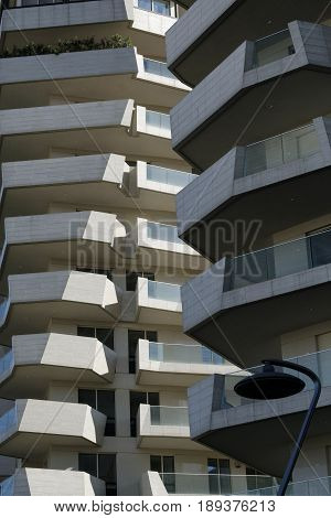 MILAN, ITALY - APRIL 17, 2016: Milan (Lombardy Italy): modern residential buildings in the new Citylife area (Tre Torri)